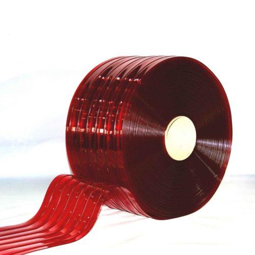 Transparent Red Ribbed PVC Bulk Rolls