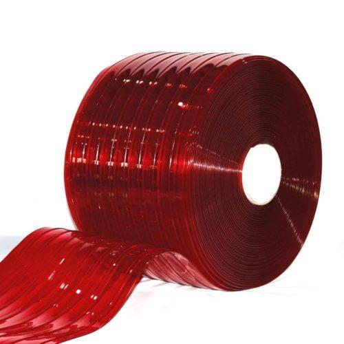 Transaparent Red Ribbed PVC Bulk Rolls