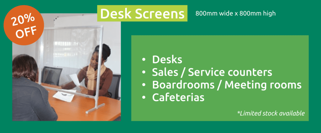 20% off desk screens maxiflex